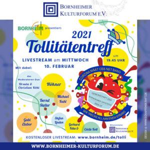 Stadt Bornheim und Bornheimer Kulturforum laden zum  Bornheimer Tollitätentreff 2021